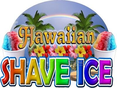 Hawaiian Shaved Ice Fun Window Wall Decal (Choose A Size) Stands Boardwalk Shops