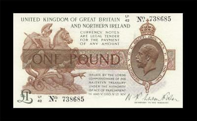 1919 Great Britain & Ireland Kgv 1 Pound England (( Gem Unc ))