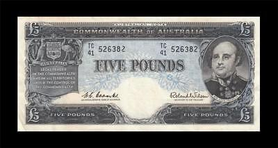 1960 AUSTRALIA 5 POUNDS RBA NOTE **Sig. Coombs** (( EF+ ))