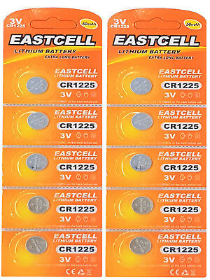 10 x CR1225 3V Lithium Knopfzelle 50 mAh ( 2 Blistercard a 5 Batterien )EASTCELL