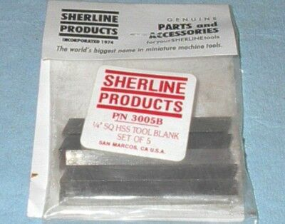 "Sherline Lathe Accessories 1/4"" Sq High Speed Steel Blank (Set Of 5) New In Pack"
