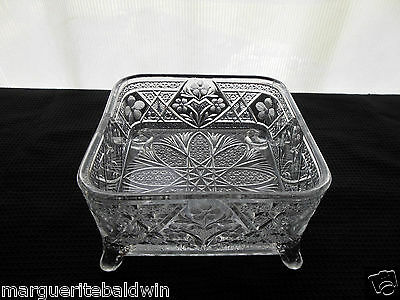 Indiana Glass Clear Garden Pink Pattern # 167 Splayed Foot Honey Box No Cover