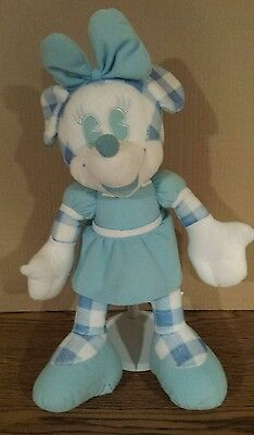 "Disney Minnie Mouse Plush Toy Gingham Pattern Series 14""  Blue & White"