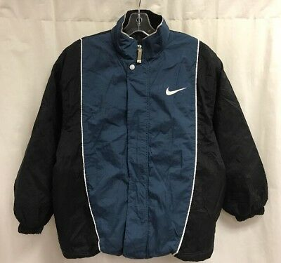 Vintage Nike Big Swoosh Spell Out Insulated Jacket Sz Youth L (14-16) Blue Black
