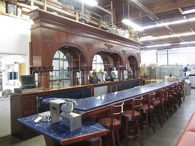 28-1/2' Mahogany Front & Back Bar With Multiple Appliances
