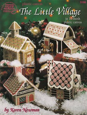 The Little Village Plastic Canvas Santa Workshop Reindeer Barn Chapel Cottage