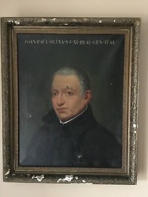 Large Antique 19th Century Oil Painting Portrait of an Old Man Italian Master