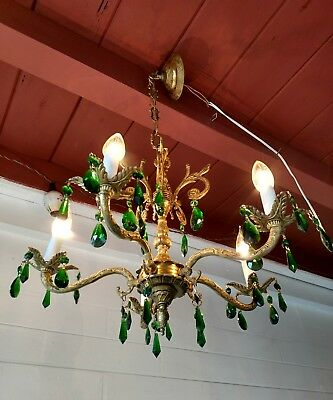 Antique Spanish 5 Arm Ornate Brass Chandelier with Amazing Green real crystals