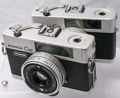 Lot Of 2 Parts AS-IS - Konica C35 Automatic Rangefinder 35mm Film Cameras