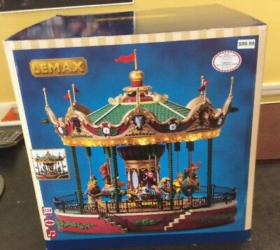 2011 Lemax Coventry Cove Animated Jungle Carousel Merry Go Round Lights & Sound