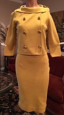 Vintage 1960's GiBi Mustard Yellow Wool Knit Skirt Suit Small Medium Jackie O