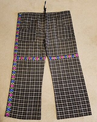 PANTS CRAFTED FROM A VINTAGE EMBROIDERED GUATEMALAN CORTE ~ LADIES L or XL
