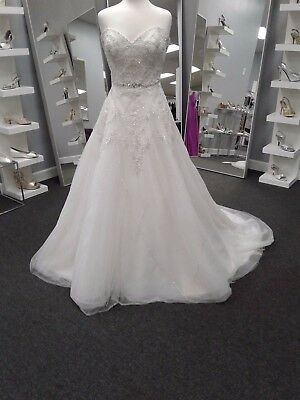 Alfred Angelo Wedding Gown #246 size 14 Ivory DISNEY Tiana beads lace corset