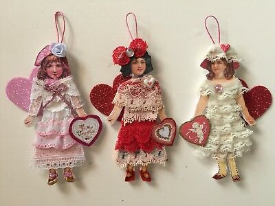 Victorian style Paper Doll Girl VALENTINES Ornaments-Lot of 3 OOAK Handmade