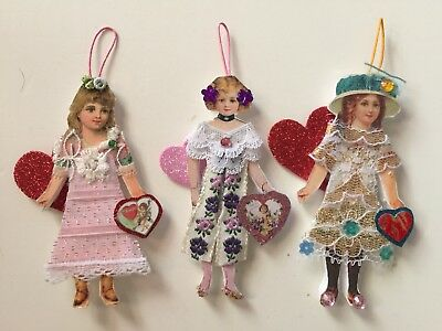 VALENTINES DAY Victorian style Paper Doll Girl Ornaments-Lot of 3 OOAK Handmade