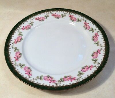 """Antique Made In Habsburg Austria Gold Rimmed Roses Plate 8 1/2"""""""
