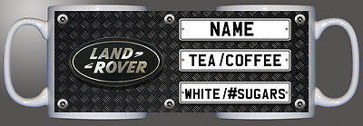 Land Rover logo number plate checkered diamond personalised printed mug D1