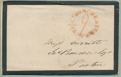 1846 Mourning Cover, Contents, Dorchester NB to Pictou NS, Paid 9
