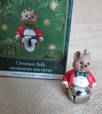 Metal Xmas bell Sound Mouse series #7 Hallmark miniature mini Ornament & BOX 7th