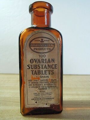 Ovarian Substance Tablets - Medicine Bottle W/ Label - Armour & Co. Laboratories