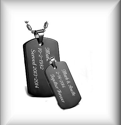 Personalized Stainless Steel Black Dog Tag Necklace Set Custom Engraved Free