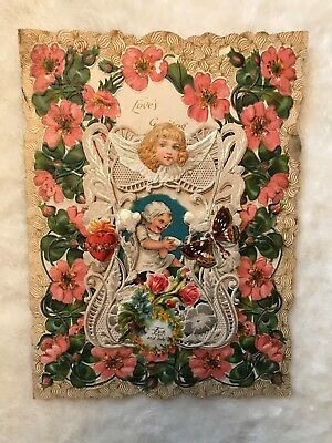 Antique Foil Lace Die Cut Valentine 3D Unused