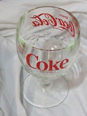 VINTAGE COCA COLA ENJOY COKE THUMBPRINT GLASS GOBLET With RED LOGO LETTERING CUP