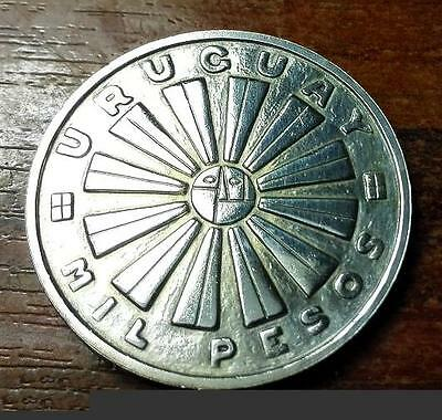Uruguay 1969 -MIL PESOS F.A.O.-UNC -Silver . (without tears)very rare coin.# 24