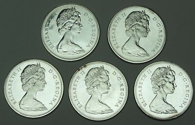 Lot=5 BU Canada Silver Dollars 1965 Voyageur Elizabeth II Brilliant Uncirculated