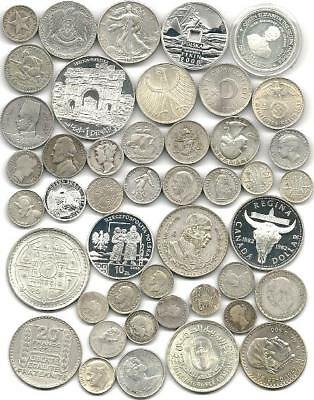 """World (45) Forty Five Old Silver Coins  #4420 """"great Big Lot & Free Usa Ship"""""""