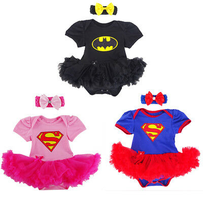 Baby Girl Supergirl Batgirl Costume Bodysuit Newborn Dress Carnival Jumpsuit Set