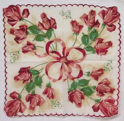 Vtg Ladies Hankie Red and White Rose Bouquets A Real Stunner!