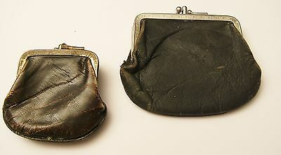 Lot of 2 Vintage Brown/Black Leather Coin Purses Double Compartment