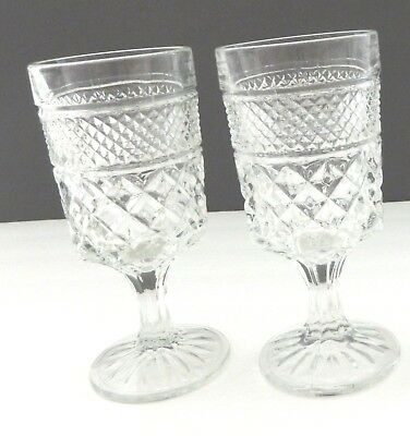 Wexford Anchor Hocking Stemmed Goblet Water Tumbler 8 ounce Crystal Lot of Two