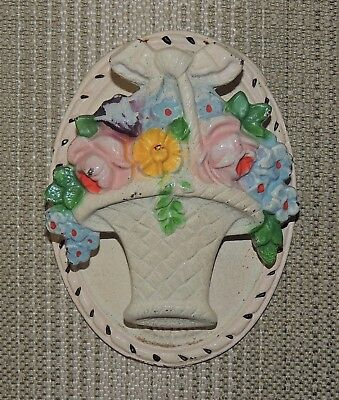 Vintage Hubley #13 Cast Iron Door Knocker, Basket of Flowers in Original Paint