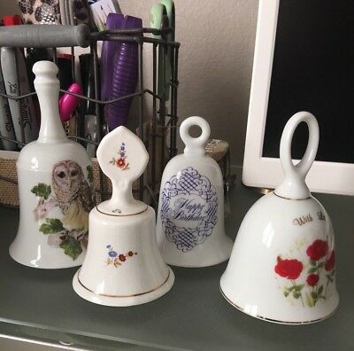 Lot of 4 Collectible Staffordshire, Goebel porcelain bells, various styles sizes