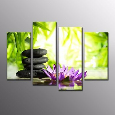 Home Decor Zen Modern Canvas Prints Wall Art Painting Bamboo Stone Flower-4pcs