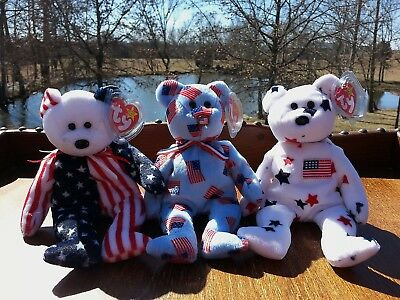 Lot of 3 Ty Patriotic Beanie Baby Bears Red White Blue Spangle Glory Union USA