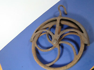 """LARGE #12 Well Pulley old 11""""wheel cast iron barn hay loft primitive vintage"""
