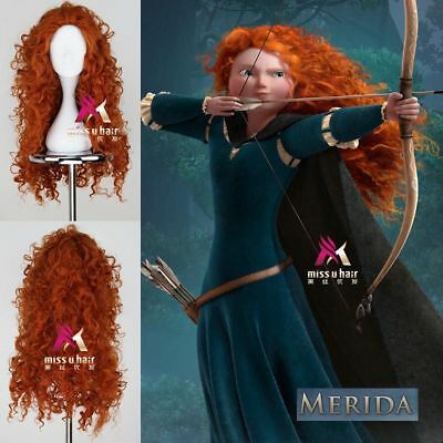 Brave Merida Orange Color Long Curly Anime Cosplay Party Wig
