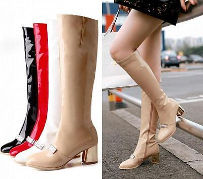 Ladies Patent Leather Block Heel Knee High Boots Womens  Skiny Zip Shoes US4-11