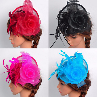 Elegent Women's Fascinator Hat Feather Headband Cocktail Wedding Party Headpiece