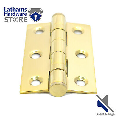 "Door Hinges Polished BRASS 3""x2""