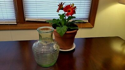 "1930's Antique RARE Green Ribbed Optic Beehive 8"" Vase Vaseline Uranium Glass"