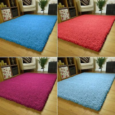 SMALL X EXTRA LARGE THICK MODERN 5cm HIGH PILE PLAIN SOFT NON-SHED SHAGGY RUGS