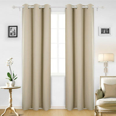 "Thermal Insulated BLACKOUT Curtains Set Grommet Panels Lenght 63 84 96"" 7 Colors"