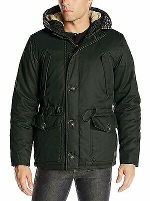English Laundry Men's Wax-Cotton Hooded Parka Jacket Black XL Extra Large Warm!