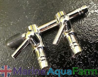 Aquarium 2 Way Chrome Air Line Splitter Taps Tank Manifold Regulator Fish