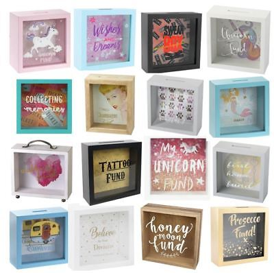 Glass Money Box Savings Wooden Panel Frame Bank Travel Holiday Fund Coin