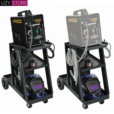 Welding Cart Welder Storage Two Shelves Tilted Top With Assembly Holding Hooks